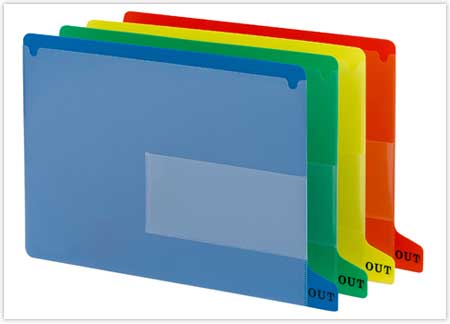 File folders with tabs are offered in a variety of colors