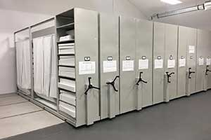 Healthcare movable storage shelving units