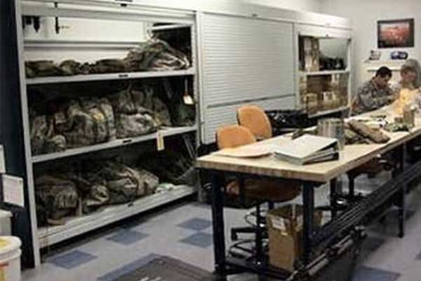 Storage shelving for tactical gear for public safety